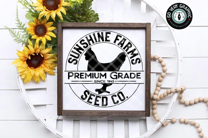 Sunshine Farms Seed Co Hen Farmhouse Round Sign SVG Cut File