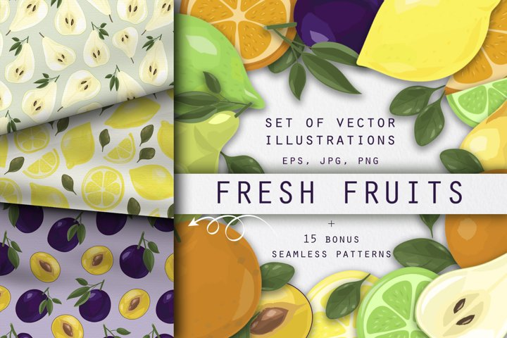 Fresh fruits vector clip art