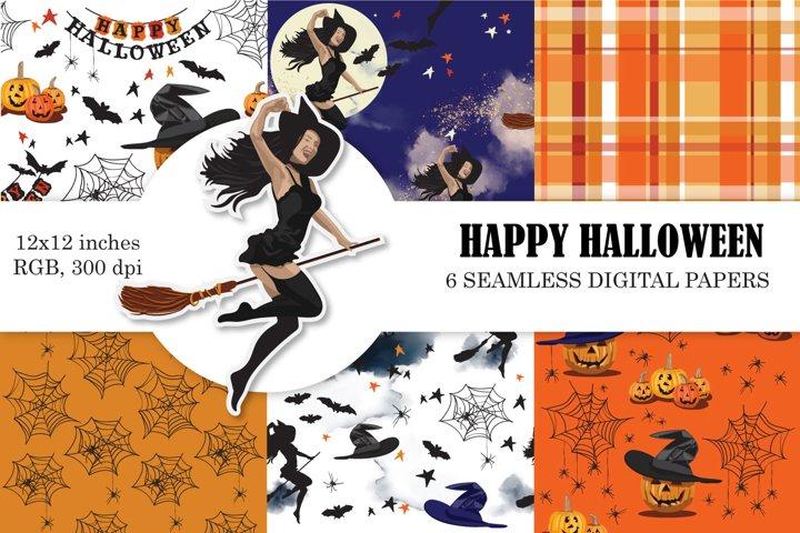 Halloween Digital Paper, Seamless Patterns