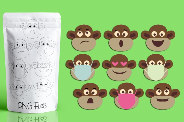 Monkey faces with emotions illustrations clip art