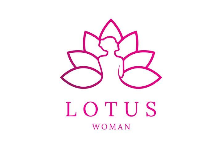 Luxury Woman and Lotus Line Art Logo Design
