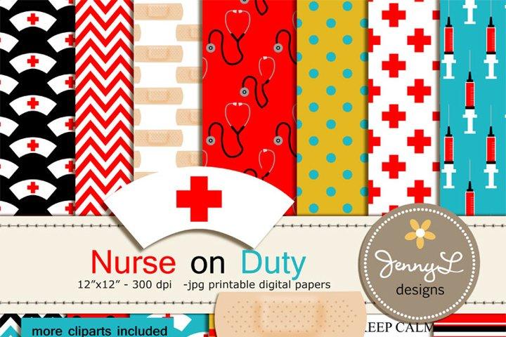 Nurse Digital Paper and  Clipart Medical, Syringe, Blood, Medicine, Bandaid, Heart, Stethoscope