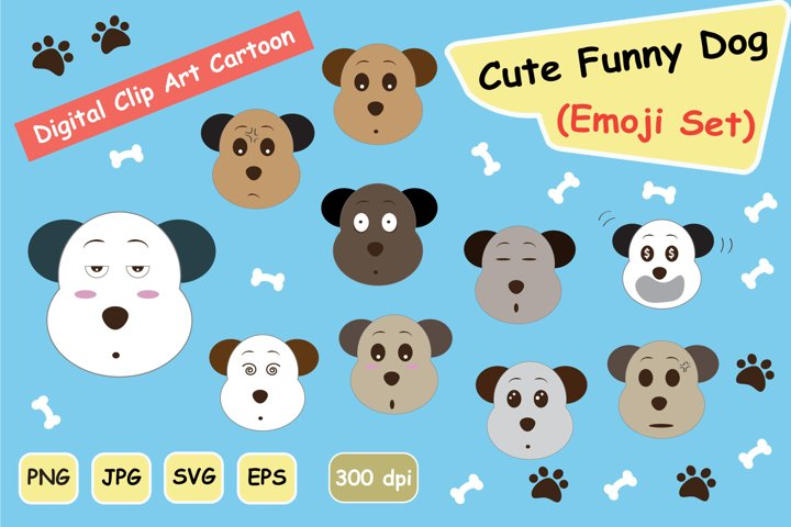 CUTE Funny DOG emoji SVG CLIPART GRAPHIC SET
