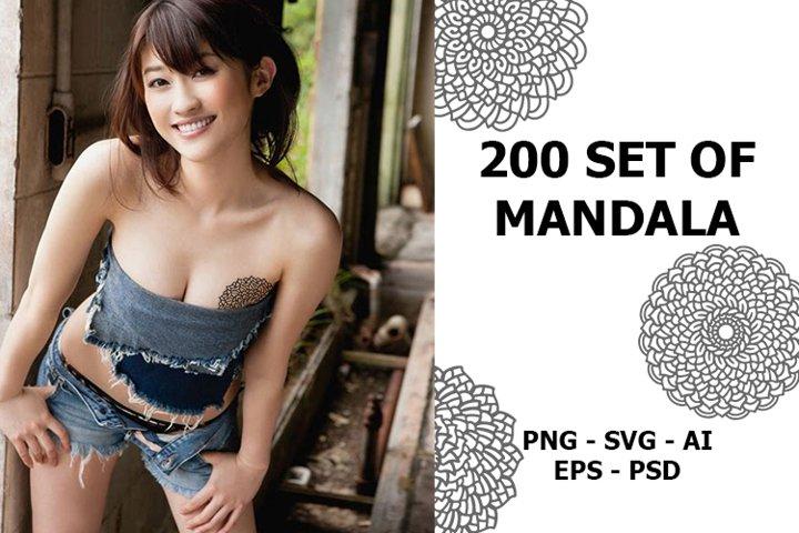 200 set of Mandala Vector design line art