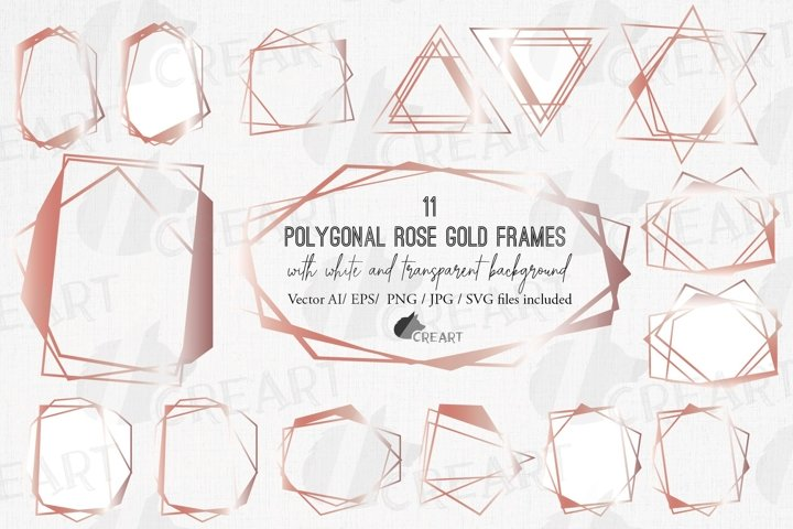Polygonal geometric rose gold frames, chaotic lineal borders