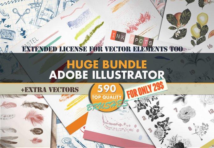 Mega brushes bundle for Adobe Illustrator