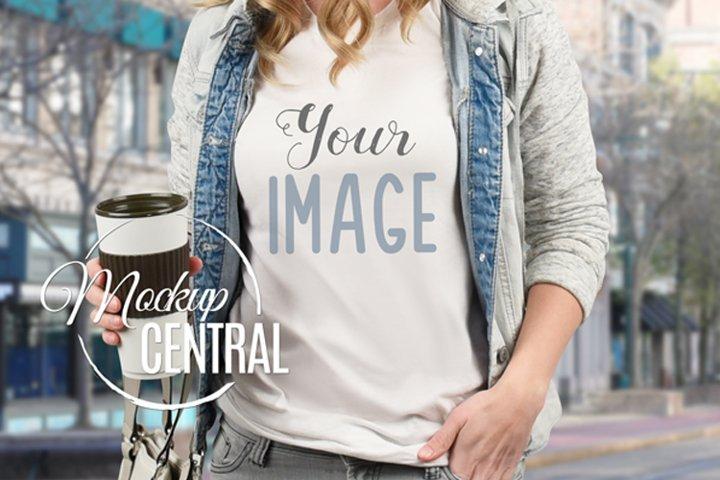 Urban Girl T-Shirt Mockup, Shirt Mock Up on Woman JPG