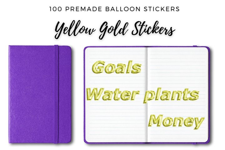 Yellow Foil Balloon Stickers for Planner, Big Bundle