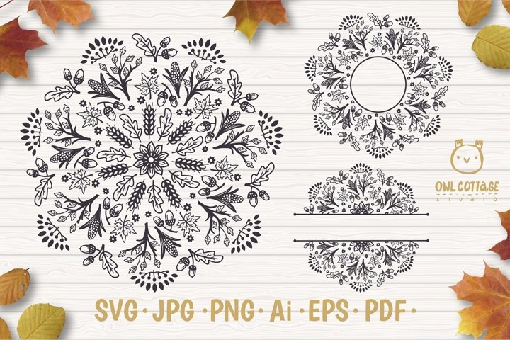 Fall Mandala Monograms svg, Fall monograms mini bundle, Autu