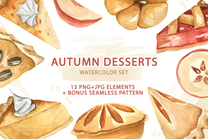 Watercolor Traditional Autumn Desserts