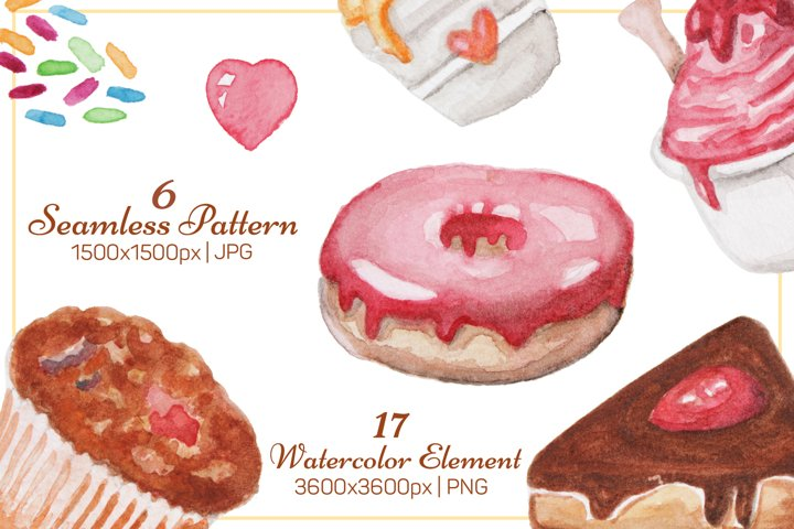 Watercolor Sweet Food