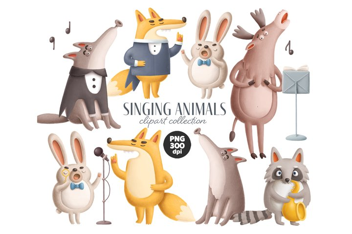 Singing animals clipart collection
