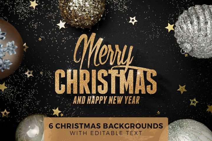 6 Christmas Backgrounds with Editable Text