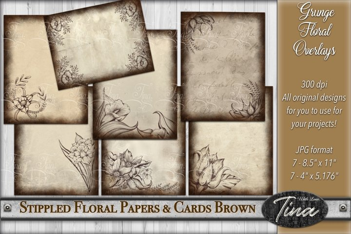 Brown Grunge Stippled Floral Overlay Pages & Cards Antique