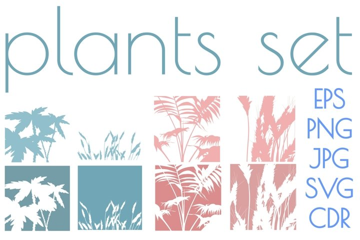 Palms amd ears of wheat silhouette illustrations set