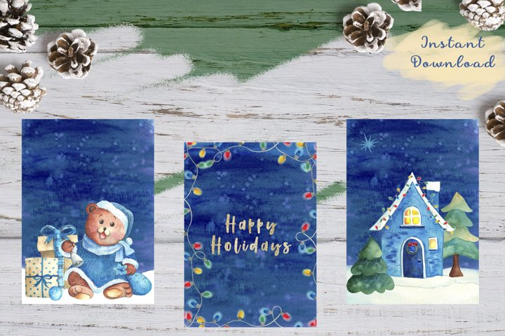x3 Watercolor Christmas cards pack