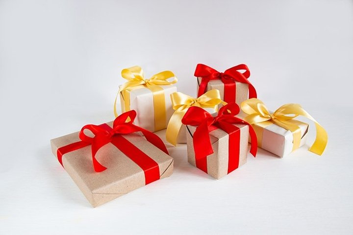 Christmas gifts on a white background.