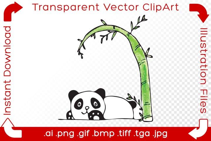 Panda Vector ClipArt Illustration Bear under Bamboo Tree