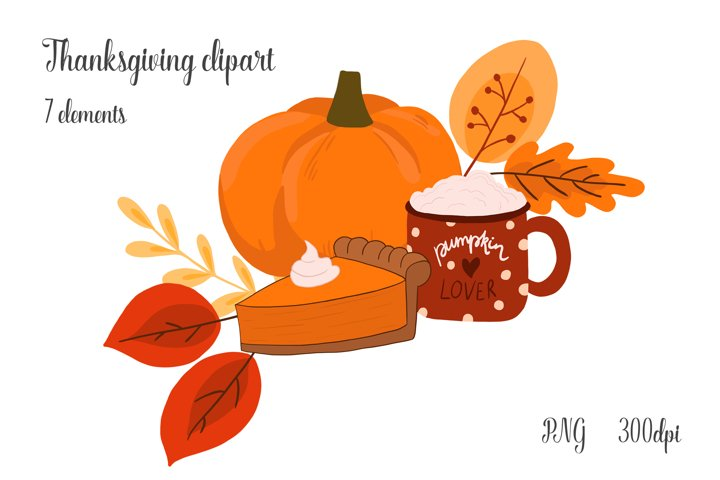 Thanksgiving Clipart with Pumpkin, Cocoa Graphic