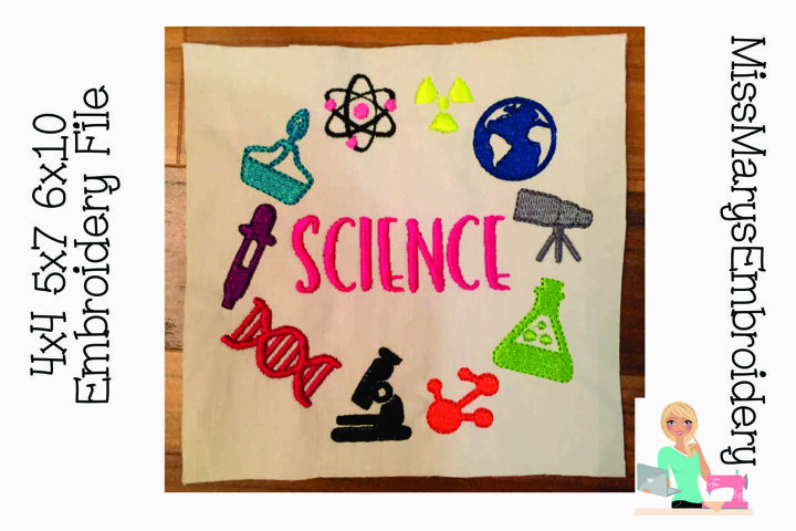 Science Subject Monogram Embroidery Frame |Embroidery File