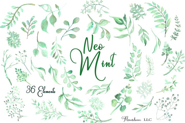 Watercolor Greenery Clipart in Neo Mint, Botanical Elements
