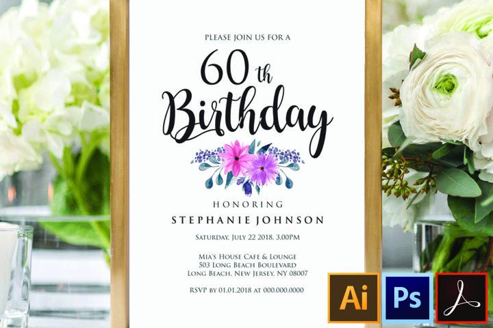 60th Surprise Birthday Invitation, Birthday Party Invitation