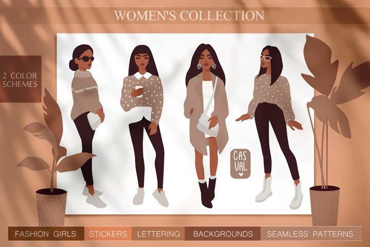 Women, girls fashion illustration