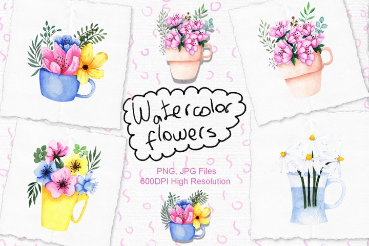 Watercolor Flowers in Cup example