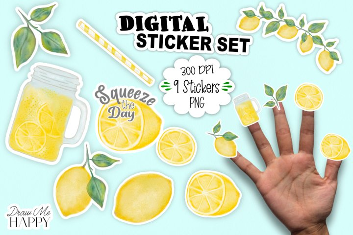 Digital Stickers, Planner Stickers, Lemon Stickers, Stickers