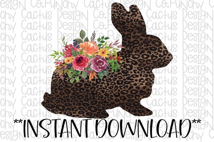 Leopard Floral Bunny Sublimation Download, Easter