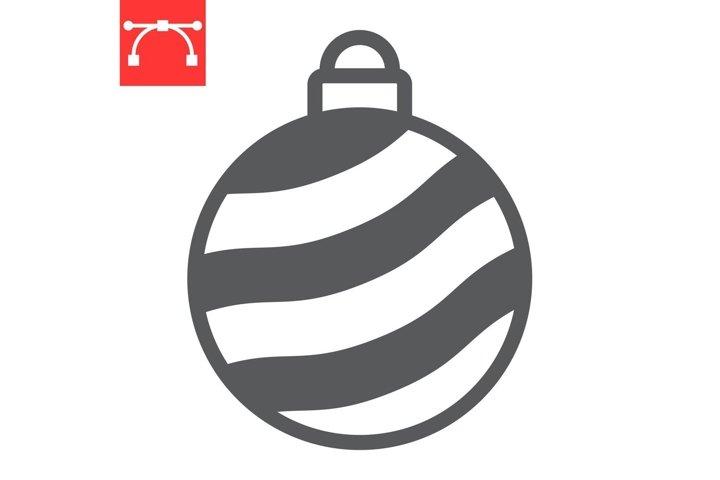 Christmas tree ball glyph icon