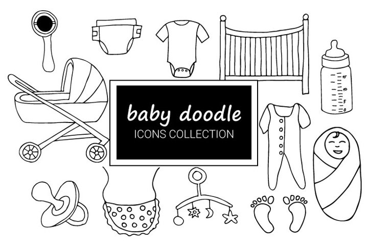 Baby doodle icons collection