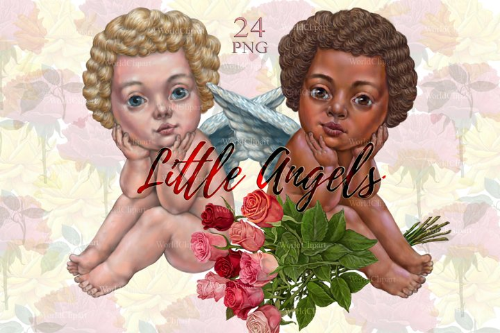 Little Angels, Angels clipart, Valentines Day