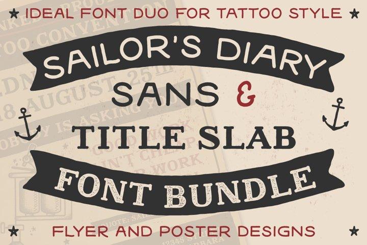 Sailors Diary Sans & Title Slab Tattoo Style Font