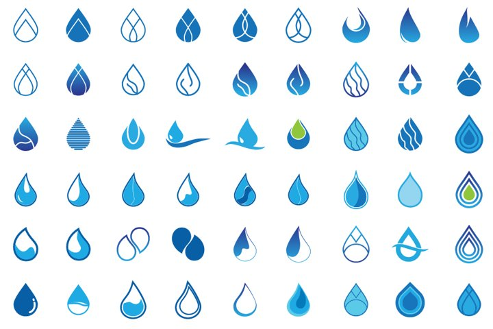 Set Of Water Drop Logo Design