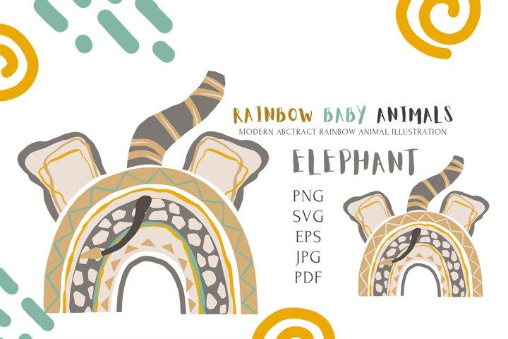 Safari Cute Baby Elephant Rainbow