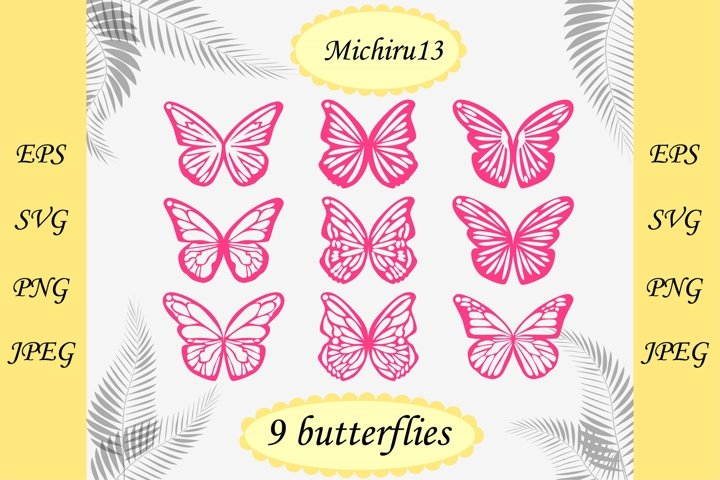 Butterfly earrings collection and butterfly wings