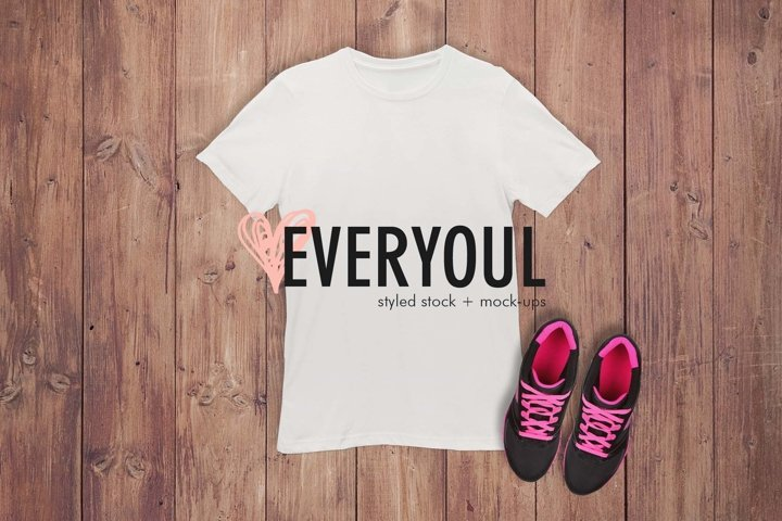 Shoes Adult Tshirt Styled Stock Mockup