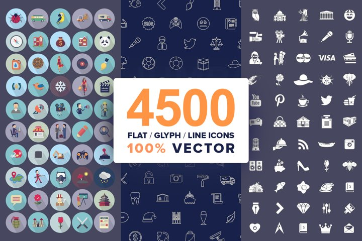 4500 Vector Icons Bundle- Flat, Line, Glyph in SVG, AI, PSD