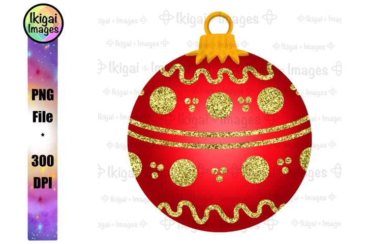 Red Holiday Ornament, Christmas Bauble With Glitter, PNG