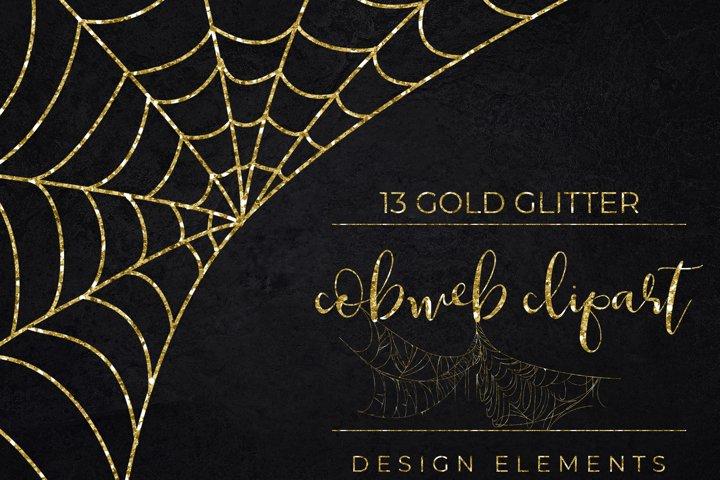 Gold Glitter Halloween Spider Web Clipart-Cobweb Clipart