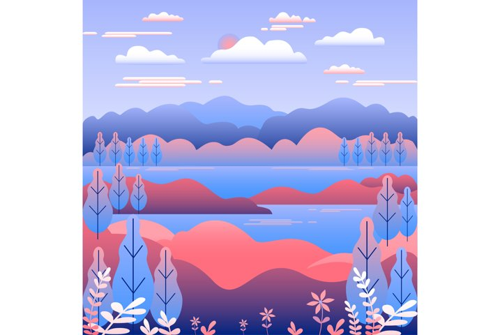 Hills and mountains landscape in flat style design pink