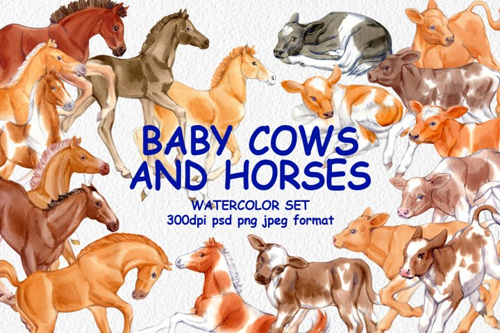 Watercolor horses and calves clipart