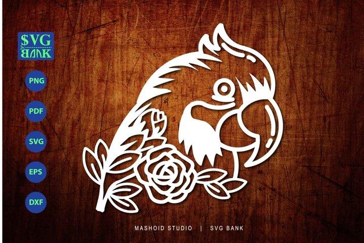Parrot SVG, Parrot head SVG, Parrot with flower cut file