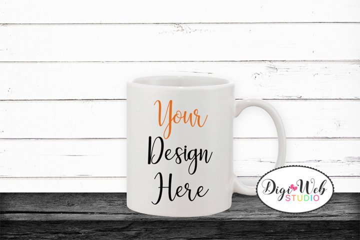 Coffee Cup Mockup - Halloween Mix Coffee Mug on Wood Shelf