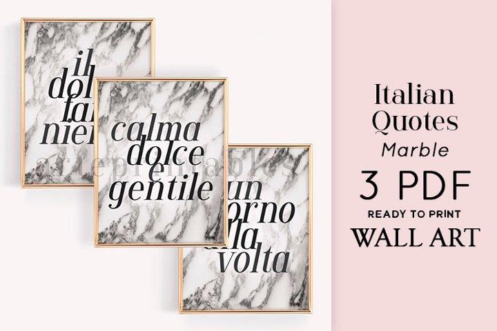 Italian Quotes Marble Wall Art