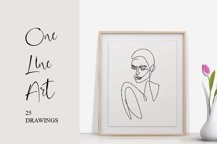 One Line Art Set Woman Portrait Outline Face Minimalist Art