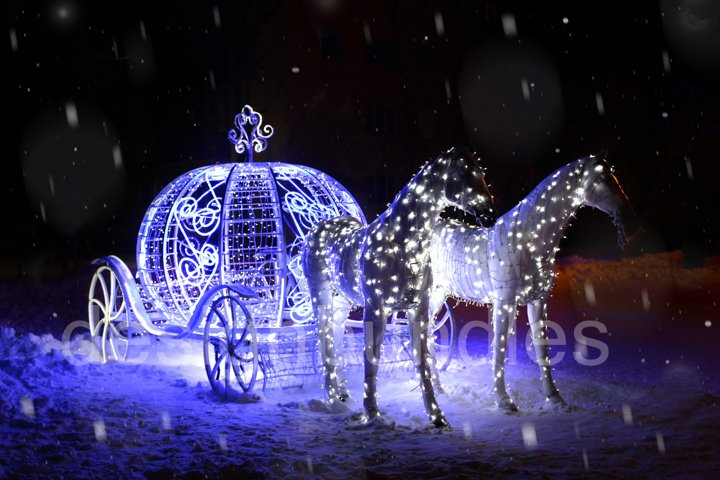 New Year card. luminous figure of horses with a carriage. Sn