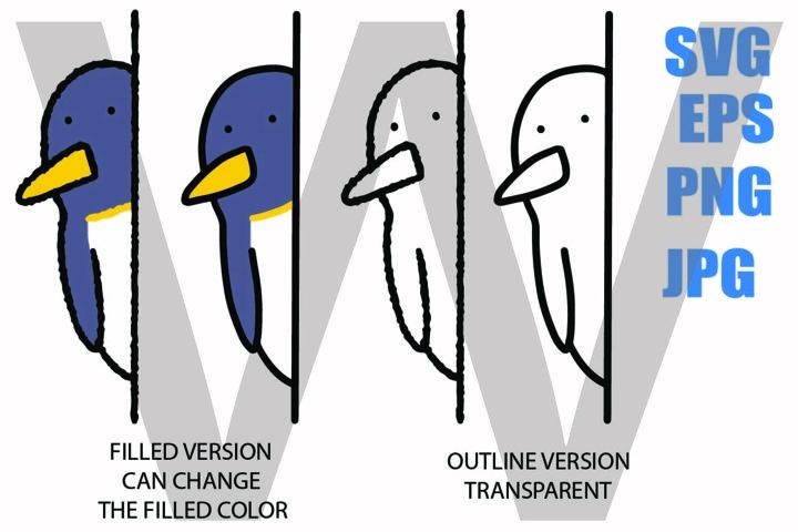 Cute Peeping Penguin Line Drawing- SVG-EPS-JPG-PNG
