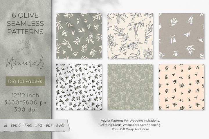 Olive Branch Seamless Pattern Bundle Digital Paper SVG
